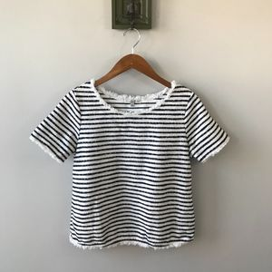Green Envelope Black White Stripe Tweed Raw Top
